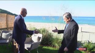 """G7, incontro in """"piena sintonia"""" tra Biden ne e Draghi"""