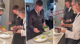 David Beckham in cucina con Massimo Bottura