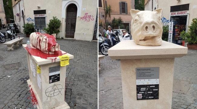 """Roma, imbrattata di """"sangue"""" la statua della porchetta a Trastevere"""