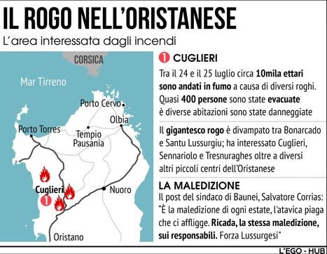 Incendi nel versante occidentale della Sardegna