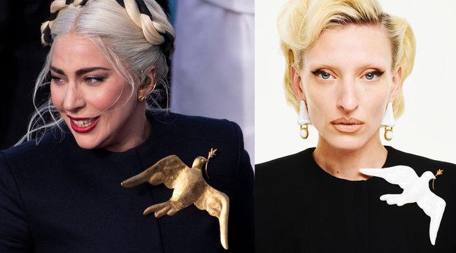 Moda, la spilla colomba di Lady Gaga in vendita per una buona causa
