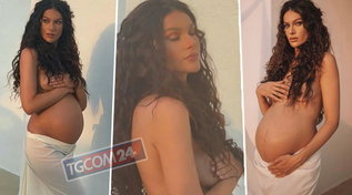 Paola Turani mostra il pancione nudo all'ottavo mese