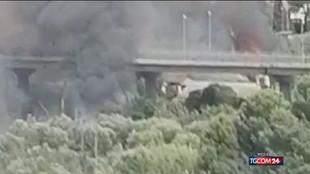 Incendio a Pescara, le immagini dei tre focolai