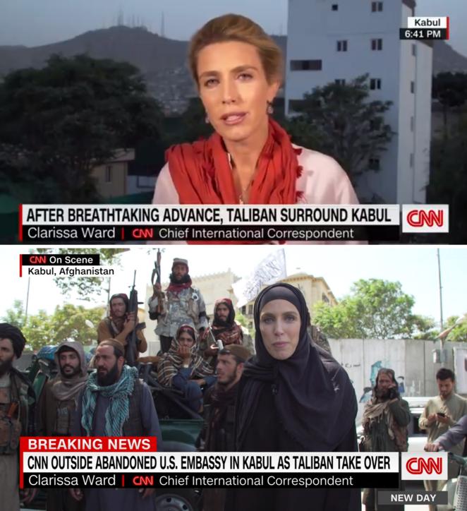 """Kabul torna in mano ai talebani: l'immediato """"cambio d'abito"""" della giornalista CNN"""