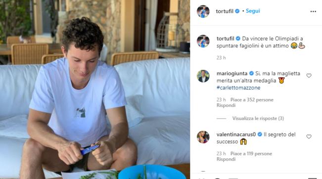 """Filippo Tortusui social: """"Da vincere le Olimpiadi a spuntare fagiolini è un attimo"""""""