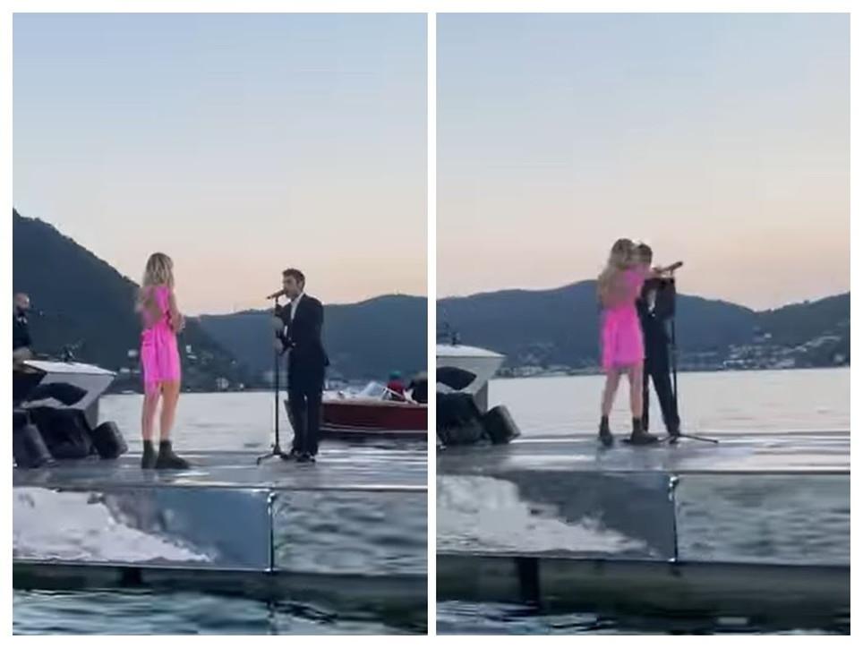 Fedez canta una dedica d'amore a Chiara Ferragni in mezzo al lago di Como