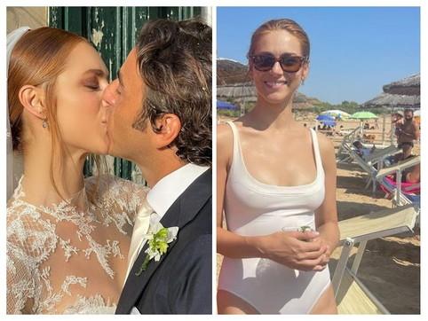 Tuffo in mare dopo le nozze per Miriam Leone e Paolo Carullo