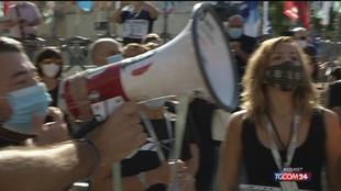 A Palermo la protesta dei lavoratori di Almaviva