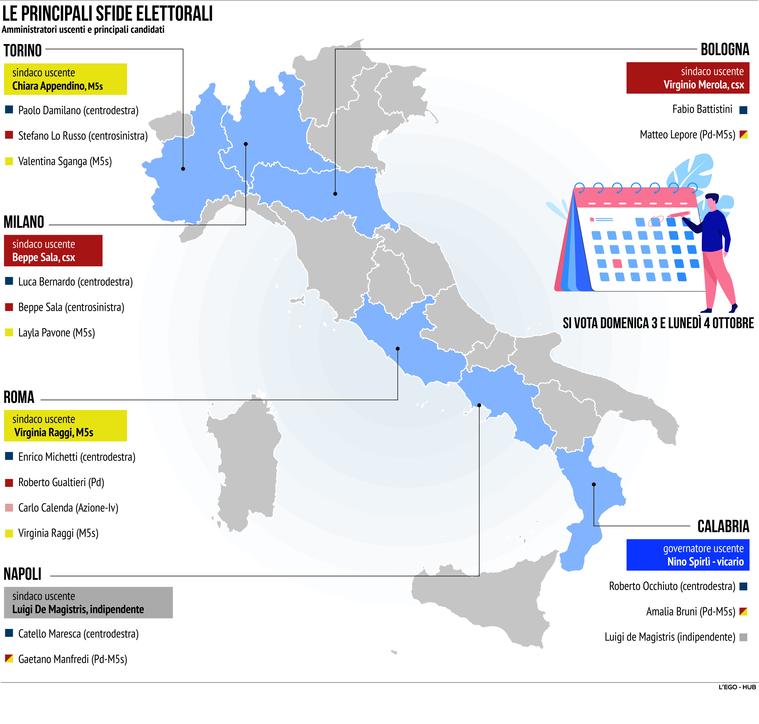 Amministrative 2021, da Milano a Napoli: le principali sfide elettorali