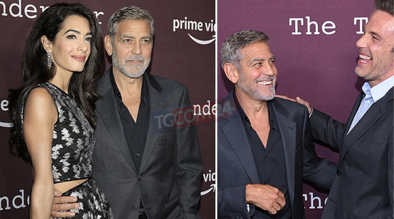 "George Clooney ""sfila"" col suo amico Ben Affleck e abbracciaAmal"