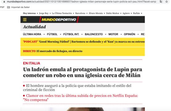 """Il caso del ladro italiano ispirato dalla serie tv """"Lupin"""" fa il giro del mondo"""