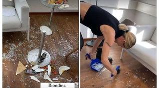 Michelle Hunziker vede una cimice e rompe un tavolino
