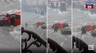 Nubifragio a Catania, i salvataggi delle persone bloccate in auto